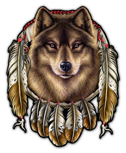 Wolf Indian Metal Sign 29 x 36 Inches