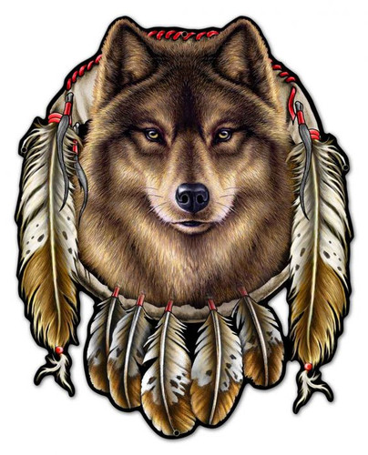 Wolf Indian Metal Sign 24 x 29 Inches