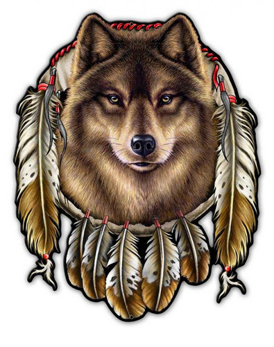 Wolf Indian Metal Sign 14 x 17 Inches