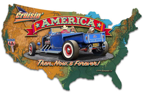 Crusin' America Map Metal Sign 27 x 16 Inches