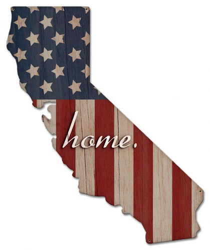 American Flag Home California Metal Sign 22 x 27 Inches