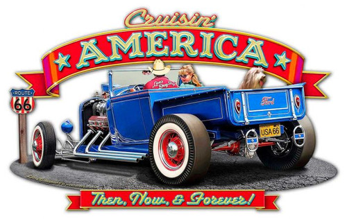 Crusin' America Metal Sign 24 x 15 Inches