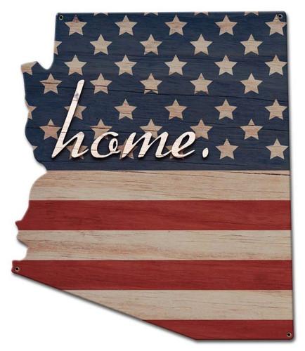 American Flag Home Arizona Metal Sign 15 x 18 Inches
