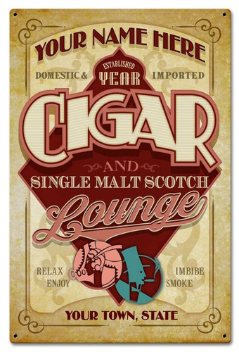 Cigar Lounge Metal Sign - Personalized 16 x 24 Inches