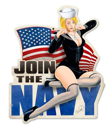 Join The Navy Pinup Metal Sign 15 x 18 Inches
