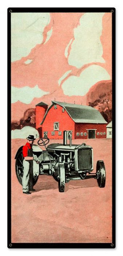 Red Farm Tractor Metal Sign 9 x 20 Inches