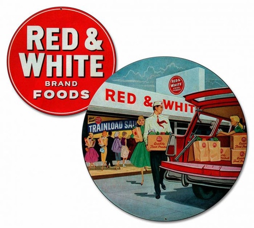 Red & White Brand Foods Metal Sign 24 x 22 Inches