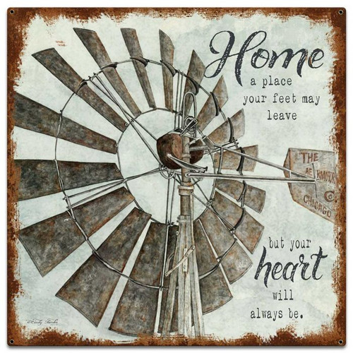 Windmill Home Metal Sign 24 x 24 Inches