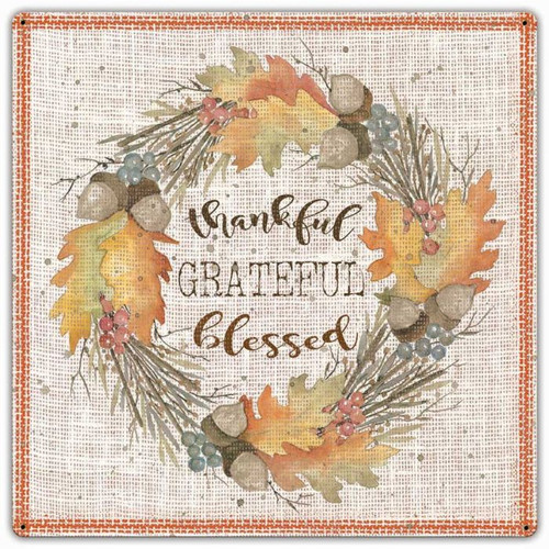 Fall Wreath Thankful Grateful Metal Sign 24 x 24 Inches