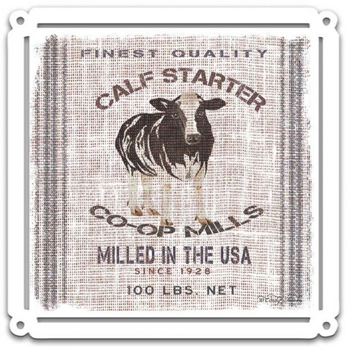 Grain Animal COW Metal Sign 24 x 24 Inches