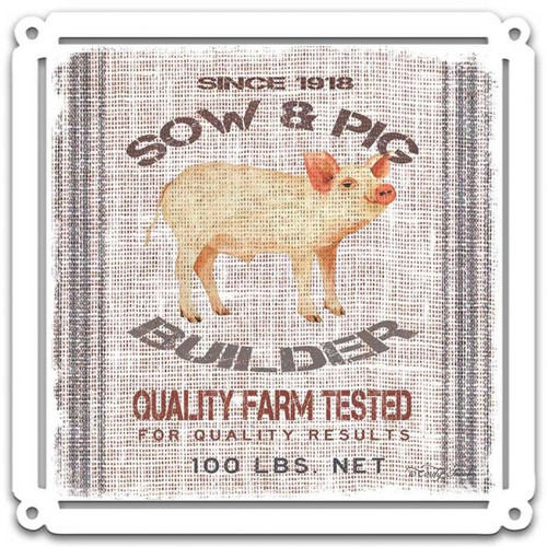 Grain Animal Pig Metal Sign 24 x 24 Inches