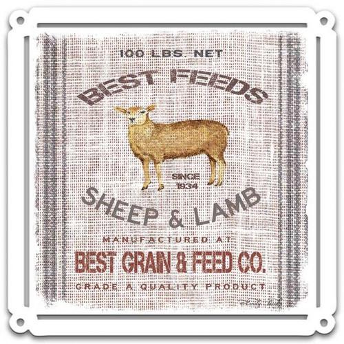 Grain Animal Sheep Metal Sign 24 x 24 Inches