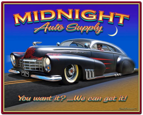 Midnight Auto Supply Metal Sign 24 x 30 Inches