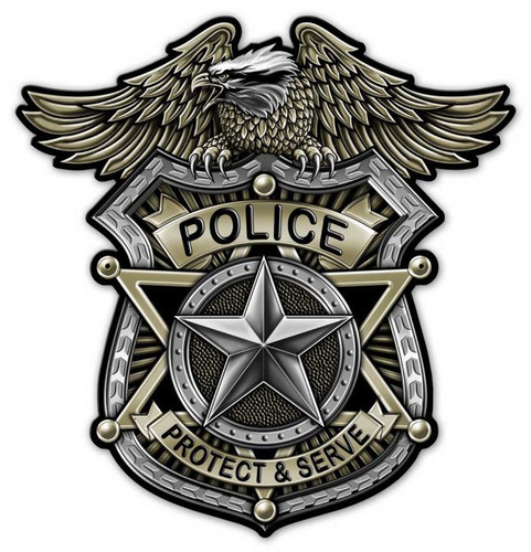 Police Badge Metal Sign 24 x 24 Inches