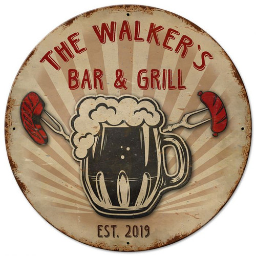 Bar And Grill 3-D Personalized Sign 14 x 14 Inches