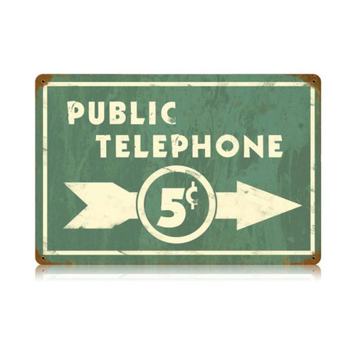 Public Telephone Metal Sign 18 x 12 Inches