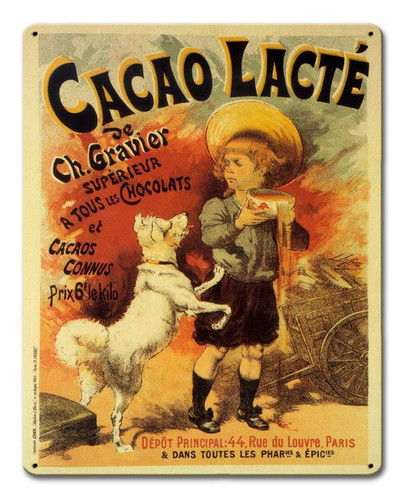 Cacao Lacte Vintage Metal Sign 12 x 15 Inches