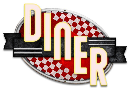 Diner Red Checkers Metal Sign 18 x 12 Inches