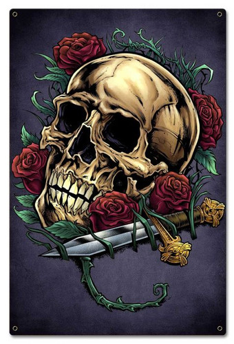 Skull Roses and Dagger Metal Sign 16 x 24 Inches