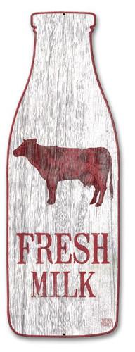 Fresh Milk Bottle Metal Sign 27 x 9 Inches