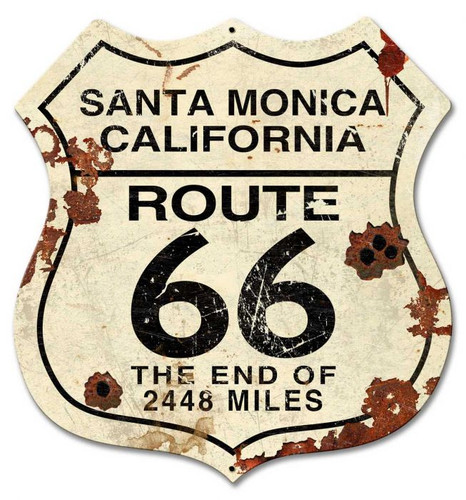 Route 66 California Vintage Metal Sign  28 x 28 Inches
