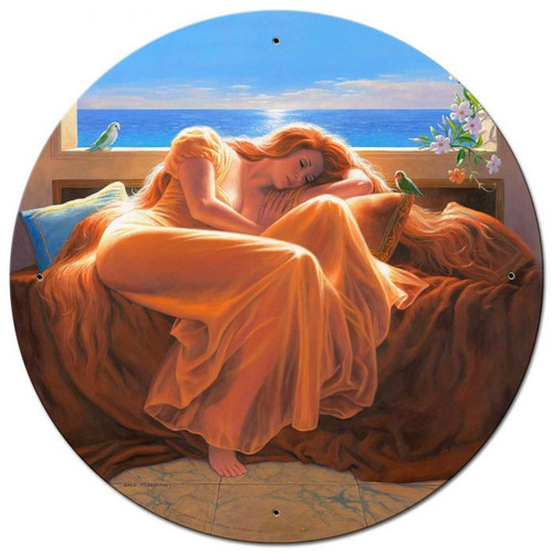 Flaming June Large Round Metal Sign 28 x 28 inches