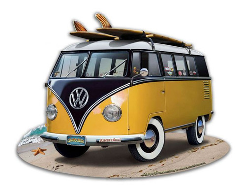 VW Bus Cut Out Yellow Metal Sign 18 x 14 Inches