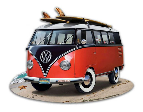 VW Bus Cut Out Red Metal Sign 18 x 14 Inches
