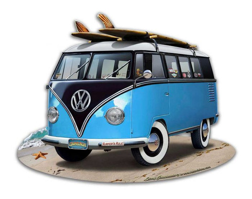VW Bus Cut Out Blue Metal Sign 18 x 14 Inches
