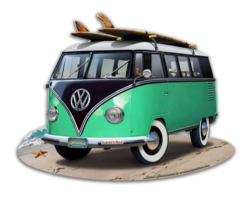 VW Bus Cut Out Green Metal Sign 18 x 14 Inches