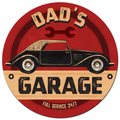Dad's Garage Metal Sign 28 x 28 Inches