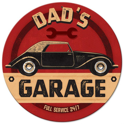 Dad's Garage Metal Sign 14 x 14 Inches
