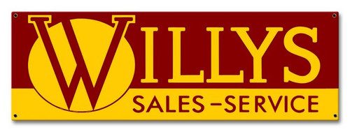 Willy's Sales and Service Metal Sign 16 x 8 Inches