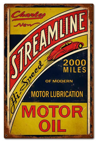 Streamline Motor Oil Sign 16 x 24 Inches