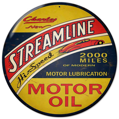 Streamline Motor Oil Round Metal Sign 14 x 14 Inches