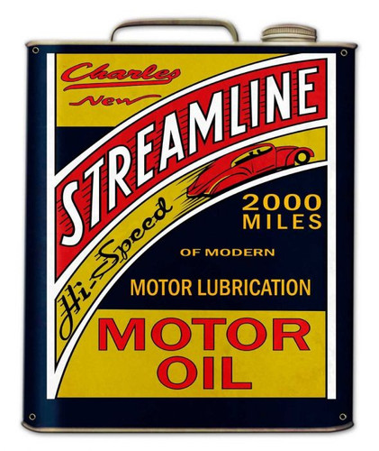Streamline Motor Oil Can Metal Sign 15 x 18 Inches