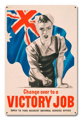 Women Victory Job WWII Australia Metal Sign 12 x 18 Inches