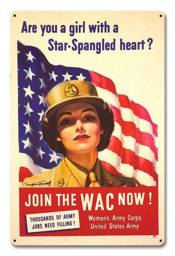 Women's Army Corps Metal Sign 12 x 18 Inches