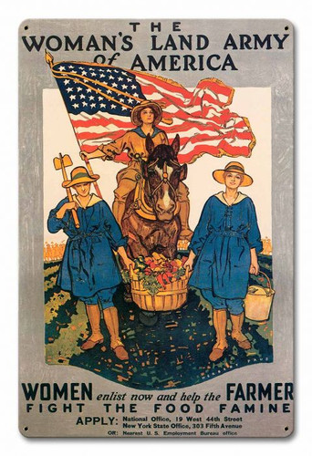 Woman's Land Army America Metal Sign 12 x 18 Inches