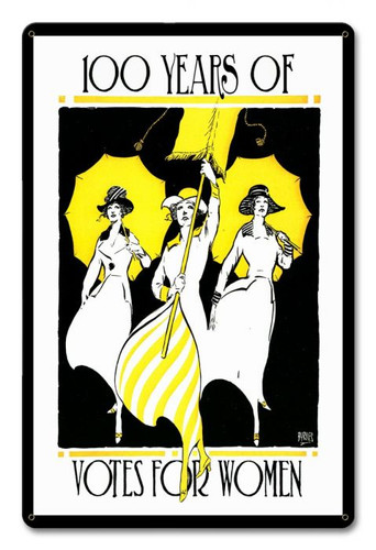 100 Years Votes Women Suffrage Metal Sign 12 x 18 Inches