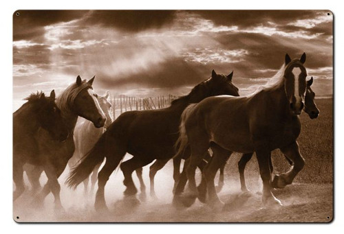 Running Horses Metal Sign 36 x 24 Inches