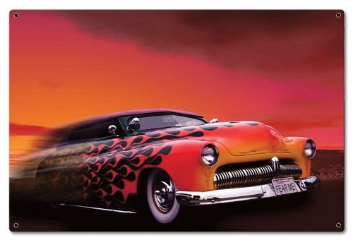 Retro Car Flames Metal Sign 24 x 16 Inches