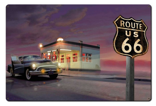 Route 66 Diner Metal Sign 36 x 24 Inches