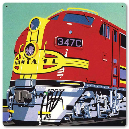 Colorful Train Metal Sign 12 x 12 Inches