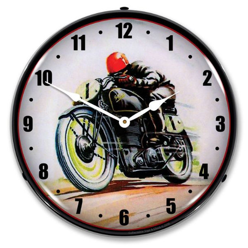 Road Racer LED Lighted Wall Clock 14 x 14 Inches