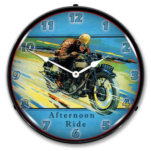Afternoon Ride LED Lighted Wall Clock 14 x 14 Inches