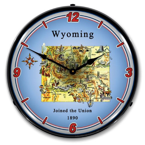 State of Wyoming LED Lighted Wall Clock 14 x 14 Inches