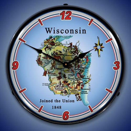 State of Wisconsin LED Lighted Wall Clock 14 x 14 Inches