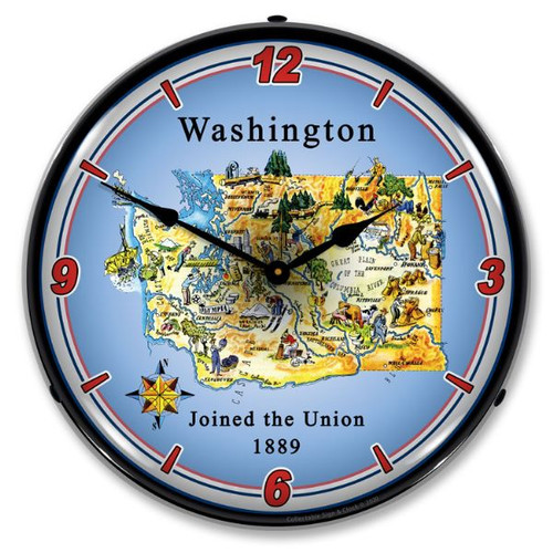 State of Washington LED Lighted Wall Clock 14 x 14 Inches
