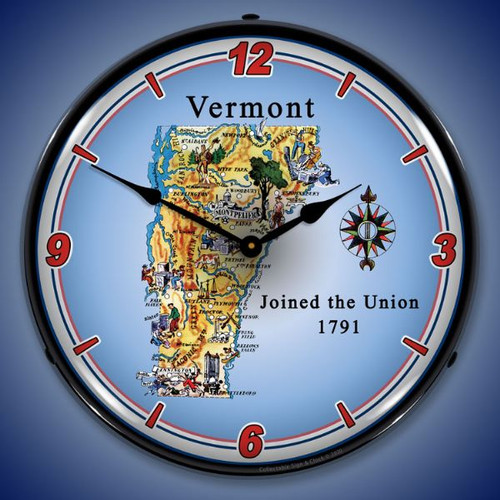 State of Vermont LED Lighted Wall Clock 14 x 14 Inches